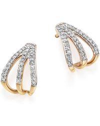 Adina Reyter | 14k Yellow Gold Pavé Diamond Triple Huggie Hoop Earrings | Lyst