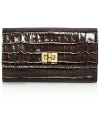 Max Mara - Small Croc Embossed Leather Continental Wallet - Lyst