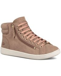 f8a9d09f29 UGG - Women s Olive Leather High Top Sneakers - Lyst
