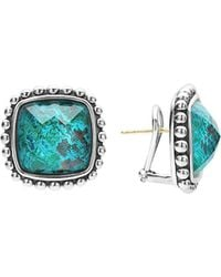 Lagos - Sterling Silver Maya Escape Chrysocolla Doublet Square Omega Clip Earrings - Lyst