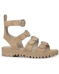 AllSaints - Raquel Suede Buckle Sandals - Lyst