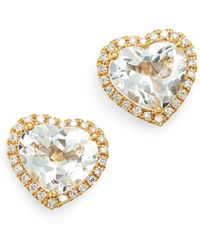 Kiki McDonough - 18k Yellow Gold Grace White Topaz & Diamond Heart Earrings - Lyst