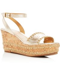 Jack Rogers - Women's Lennon Leather & Cork Wedge Platform Sandals - Lyst