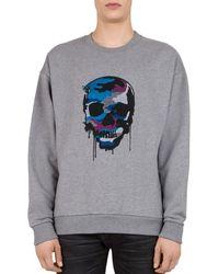 The Kooples - Skull-print Cotton-jersey Sweatshirt - Lyst