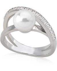 Majorica - Crisscrossed Simulated Pearl Ring In Sterling Silver - Lyst