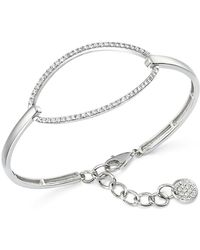 KC Designs - Diamond Oval Bangle Bracelet In 14k White Gold - Lyst