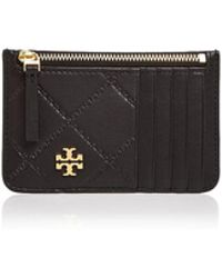 Tory Burch - Monroe Top Zip Leather Card Case - Lyst