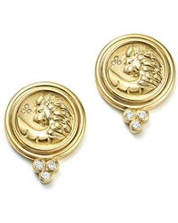 Temple St. Clair - 18k Yellow Gold Lion Coin Diamond Earrings - Lyst
