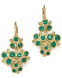 Temple St. Clair - 18k Yellow Gold Emerald Trio Cluster Earrings - Lyst