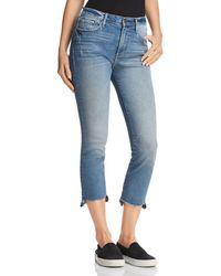 Aqua - Cropped Step-hem Jeans In Medium Indigo - Lyst