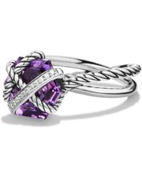 David Yurman - Cable Wrap Ring With Prasiolite And Diamonds - Lyst