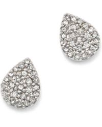 Adina Reyter - Sterling Silver Pavé Diamond Teardrop Stud Earrings - Lyst