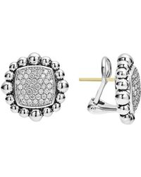 Lagos - Sterling Silver Caviar Spark Diamond Square Earrings - Lyst