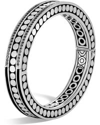 John Hardy - Sterling Silver Dot Small Oval Hinged Bangle With Black Spinel - Lyst