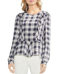 Vince Camuto - Plaid Ruffle Top - Lyst