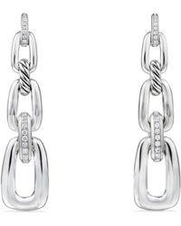 David Yurman - Diamonds & Sterling Silver Convertible Chain Drop Earrings - Lyst