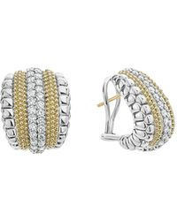 Lagos - 18k Gold And Sterling Silver Diamond Lux Curved Huggie Hoop Earrings - Lyst