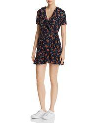 Re:named - Cassandra Floral-print Mini Wrap Dress - Lyst