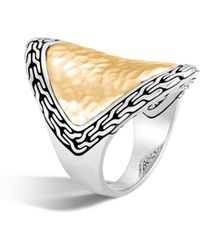 John Hardy - 18k Yellow Gold And Sterling Silver Classic Chain Saddle Ring - Lyst