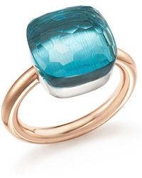 Pomellato - Nudo Maxi Ring With Blue Topaz In 18k Rose And White Gold - Lyst