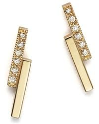 Zoe Chicco | 14k Small Staggered Bar Stud Earrings With Diamonds | Lyst