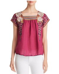 Johnny Was - Ronnie Mexican Embroidered Top - Lyst