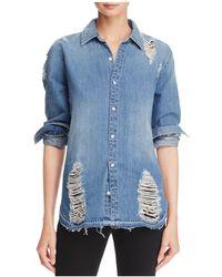 Joe's Jeans - Vera Distressed Denim Shirt - Lyst