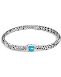 John Hardy | Sterling Silver Classic Chain Extra Small Bracelet With Turquoise | Lyst