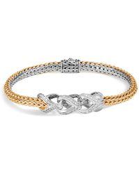 John Hardy - Sterling Silver & 18k Bonded Yellow Gold Classic Chain Pavé Diamond Reversible Bracelet - Lyst