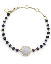 Meira T - Blue Lace Chalcedony And Sapphire Bead Bracelet With Diamonds - Lyst