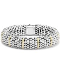 Lagos - Sterling Silver Signature Caviar Bracelet With 18k Yellow Gold Stations - Lyst