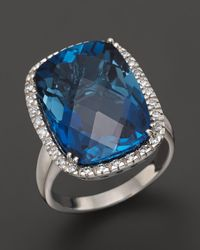 Bloomingdale's - London Blue Topaz Cushion Ring With Diamonds In 14k White Gold - Lyst