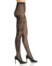Natori - Scroll Patterned Fishnet Tights - Lyst
