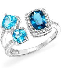 Bloomingdale's - London Blue And Swiss Blue Topaz Open Pavé Diamond Ring In 14k White Gold - Lyst