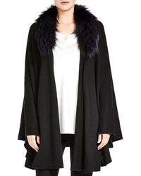 Halston - Open-front Detachable Fox Fur Collar Poncho Sweater - Lyst