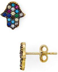 Aqua - Multi Color Hamsa Stud Earrings - Lyst