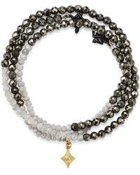 Armenta - Moonstone & Pavé Diamond Beaded Wrap Bracelet - Lyst