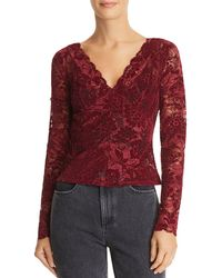 Guess - Drea Sheer Flocked Lace Top - Lyst