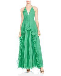 Halston - Ruffled Pleated Halter Gown - Lyst