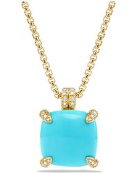 David Yurman - Châtelaine Pendant Necklace With Turquoise And Diamonds In 18k Gold - Lyst