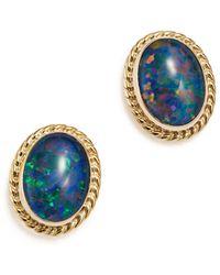 Bloomingdale's - Opal Triplet Bezel Stud Earrings In 14k Yellow Gold - Lyst