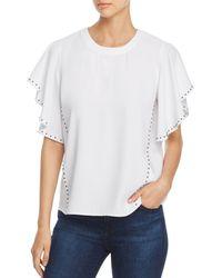 Donna Karan - New York Studded Flutter-sleeve Top - Lyst