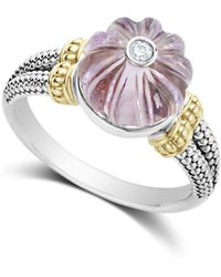 Lagos - 18k Gold & Sterling Silver Caviar Forever Diamond & Rose De France Amethyst Melon Bead Ring - Lyst