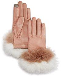 Echo - Fox Fur Trim Leather Tech Gloves - Lyst