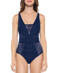 Becca - Becca By Rebecca Virtue Belted Crochet One Piece Swimsuit - Lyst