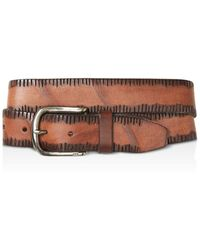 John Varvatos - Side Stitch Leather Belt - Lyst