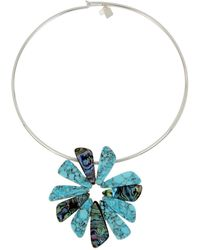 "Robert Lee Morris - Silver-tone Multi-stone Flower 16"" Pendant Necklace - Lyst"