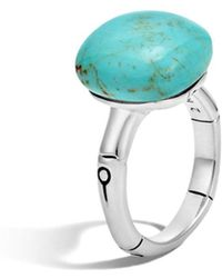 John Hardy - Batu Bamboo Silver Ring With Turquoise - Lyst