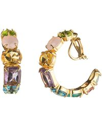 Carolee - Multi-stone Clip-on Hoop Earrings - Lyst