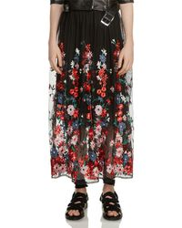 Maje - Jamie Floral-embroidered Mesh Skirt - Lyst